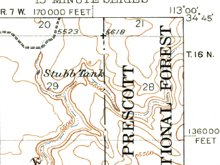 Reduced fragment of topographic map en--usgs--063k--050845--(1948)--N034-45_W113-15--N034-30_W113-00; towns and cities Bagdad