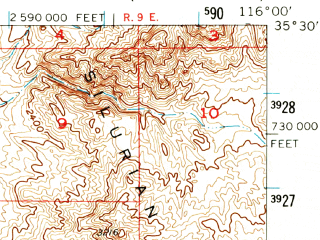 Reduced fragment of topographic map en--usgs--063k--050901--(1956)--N035-30_W116-15--N035-15_W116-00