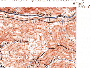 Reduced fragment of topographic map en--usgs--063k--050907--(1912)--N038-00_W081-45--N037-45_W081-30; towns and cities Whitesville