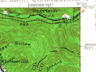 Reduced fragment of topographic map en--usgs--063k--050907--(1928)--N038-00_W081-45--N037-45_W081-30; towns and cities Whitesville