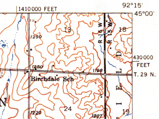 Reduced fragment of topographic map en--usgs--063k--050911--(1949)--N045-00_W092-30--N044-45_W092-15; towns and cities Baldwin, Hammond, Woodville