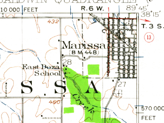 Reduced fragment of topographic map en--usgs--063k--050912--(1942)--N038-15_W090-00--N038-00_W089-45 in area of Smith Lake; towns and cities Baldwin, Ellis Grove, Evansville