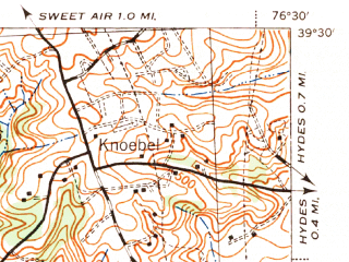Reduced fragment of topographic map en--usgs--063k--050921--(1944)--N039-30_W076-45--N039-15_W076-30; towns and cities Baltimore, Parkville, Carney, Pikesville, Overlea