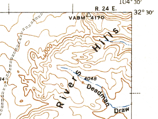 Reduced fragment of topographic map en--usgs--063k--050926--(1943)--N032-30_W104-45--N032-15_W104-30