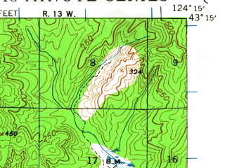 Reduced fragment of topographic map en--usgs--063k--050929--(1943)--N043-15_W124-30--N043-00_W124-15; towns and cities Bandon
