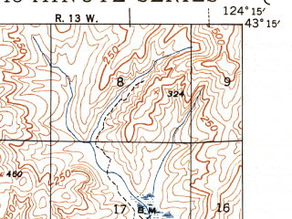 Reduced fragment of topographic map en--usgs--063k--050929--(1944)--N043-15_W124-30--N043-00_W124-15; towns and cities Bandon