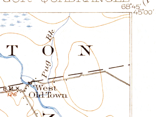Reduced fragment of topographic map en--usgs--063k--050930--(1902)--N045-00_W069-00--N044-45_W068-45 in area of Pushaw Lake; towns and cities Bangor