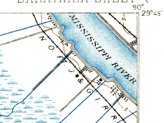Reduced fragment of topographic map en--usgs--063k--050940--(1892)--N029-45_W090-15--N029-30_W090-00 in area of The Pen, Gulf Intracoastal Waterway; towns and cities Jean Lafitte, Lafitte, Barataria