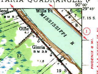Reduced fragment of topographic map en--usgs--063k--050940--(1941)--N029-45_W090-15--N029-30_W090-00 in area of The Pen, Gulf Intracoastal Waterway; towns and cities Barataria, Jean Lafitte, Lafitte