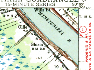 Reduced fragment of topographic map en--usgs--063k--050940--(1944)--N029-45_W090-15--N029-30_W090-00 in area of The Pen, Gulf Intracoastal Waterway; towns and cities Lafitte, Barataria, Jean Lafitte