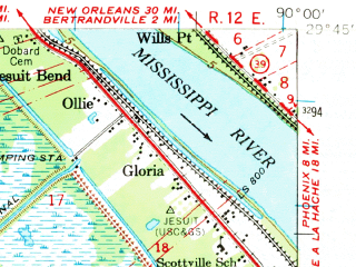 Reduced fragment of topographic map en--usgs--063k--050940--(1962)--N029-45_W090-15--N029-30_W090-00 in area of The Pen, Gulf Intracoastal Waterway; towns and cities Barataria, Jean Lafitte, Lafitte