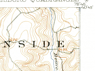 Reduced fragment of topographic map en--usgs--063k--050951--(1902)--N040-45_W079-00--N040-30_W078-45; towns and cities Barnesboro, Cherry Tree, Colver