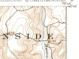 Reduced fragment of topographic map en--usgs--063k--050951--(1904)--N040-45_W079-00--N040-30_W078-45; towns and cities Colver, Spangler, Barnesboro
