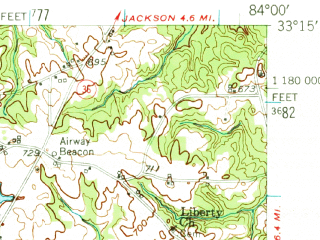 Reduced fragment of topographic map en--usgs--063k--050952--(1951)--N033-15_W084-15--N033-00_W084-00 in area of High Falls Lake; towns and cities Aldora, Barnesville, East Griffin