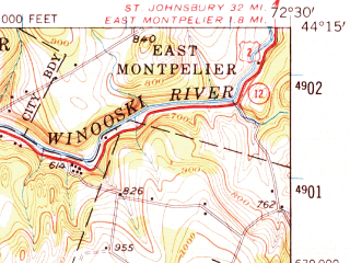 Reduced fragment of topographic map en--usgs--063k--050958--(1957)--N044-15_W072-45--N044-00_W072-30; towns and cities Barre, Northfield, South Barre