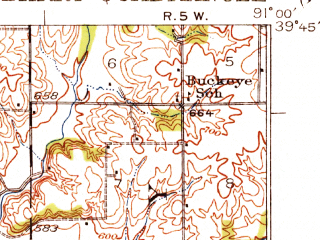 Reduced fragment of topographic map en--usgs--063k--050971--(1931)--N039-45_W091-15--N039-30_W091-00; towns and cities Ashburn, Barry, Hull