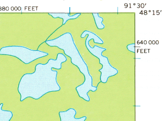Reduced fragment of topographic map en--usgs--063k--050997--(1957)--N048-15_W091-45--N048-00_W091-30 in area of Sarah Lake, Robinson Lake