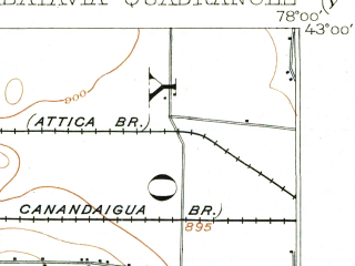Reduced fragment of topographic map en--usgs--063k--051002--(1904)--N043-00_W078-15--N042-45_W078-00; towns and cities Batavia, Wyoming