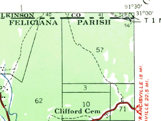 Reduced fragment of topographic map en--usgs--063k--051003--(1941)--N031-00_W091-45--N030-45_W091-30 in area of Old Lake