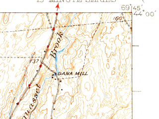 Reduced fragment of topographic map en--usgs--063k--051008--(1945)--N044-00_W070-00--N043-45_W069-45; towns and cities Brunswick, Bath, Topsham, Brunswick Station