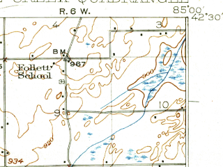 Reduced fragment of topographic map en--usgs--063k--051013--(1918)--N042-30_W085-15--N042-15_W085-00; towns and cities Battle Creek, Springfield, Bellevue, Brownlee Park