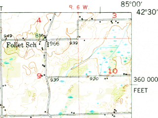 Reduced fragment of topographic map en--usgs--063k--051013--(1950)--N042-30_W085-15--N042-15_W085-00; towns and cities Battle Creek, Springfield, Bellevue, Brownlee Park