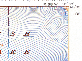 Reduced fragment of topographic map en--usgs--063k--051015--(1912)--N046-30_W095-45--N046-15_W095-30 in area of West Battle Lake, East Battle Lake, Gourd Lake; towns and cities Battle Lake, Clitherall, Ottertail