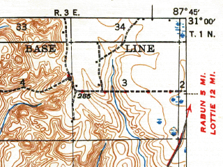 Reduced fragment of topographic map en--usgs--063k--051022--(1943)--N031-00_W088-00--N030-45_W087-45 in area of Mobile; towns and cities Bay Minette