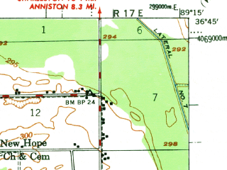 Reduced fragment of topographic map en--usgs--063k--051031--(1955)--N036-45_W089-30--N036-30_W089-15