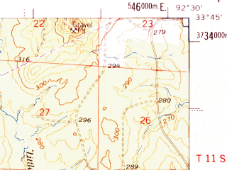 Reduced fragment of topographic map en--usgs--063k--051038--(1978)--N033-45_W092-45--N033-30_W092-30; towns and cities Bearden, East Camden