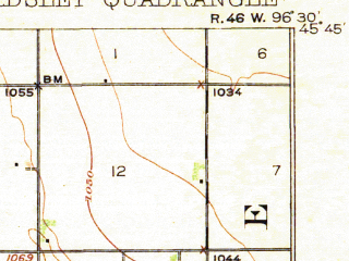 Reduced fragment of topographic map en--usgs--063k--051039--(1918)--N045-45_W096-45--N045-30_W096-30; towns and cities Barry, Beardsley