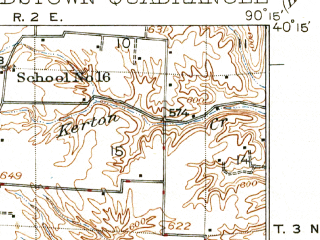 Reduced fragment of topographic map en--usgs--063k--051040--(1926)--N040-15_W090-30--N040-00_W090-15 in area of Otter Lake, Treadway Lake, Crane Lake; towns and cities Beardstown, Astoria, Browning