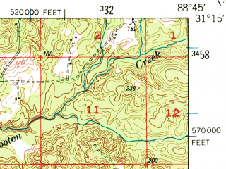 Reduced fragment of topographic map en--usgs--063k--051049--(1947)--N031-15_W089-00--N031-00_W088-45; towns and cities Beaumont, Mclain