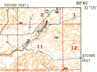 Reduced fragment of topographic map en--usgs--063k--051049--(1949)--N031-15_W089-00--N031-00_W088-45; towns and cities Beaumont, Mclain