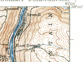 Reduced fragment of topographic map en--usgs--063k--051090--(1932)--N038-00_W081-15--N037-45_W081-00; towns and cities Beckley, Oak Hill, Piney View, Prosperity, Stanaford