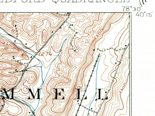 Reduced fragment of topographic map en--usgs--063k--051094--(1908)--N040-15_W078-45--N040-00_W078-30; towns and cities Alum Bank, Bedford, Manns Choice