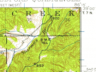 Reduced fragment of topographic map en--usgs--063k--051095--(1934)--N039-00_W086-30--N038-45_W086-15; towns and cities Bedford