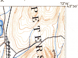 Reduced fragment of topographic map en--usgs--063k--051120--(1890)--N042-30_W072-30--N042-15_W072-15; towns and cities Belchertown