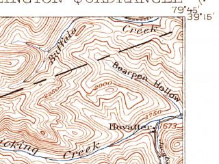 Reduced fragment of topographic map en--usgs--063k--051130--(1907)--N039-15_W080-00--N039-00_W079-45; towns and cities Belington, Montrose