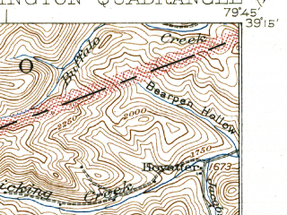 Reduced fragment of topographic map en--usgs--063k--051130--(1927)--N039-15_W080-00--N039-00_W079-45; towns and cities Belington, Montrose