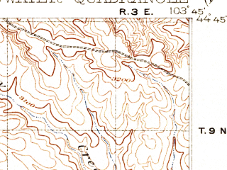 Reduced fragment of topographic map en--usgs--063k--051133--(1907)--N044-45_W104-00--N044-30_W103-45; towns and cities Belle Fourche, North Spearfish