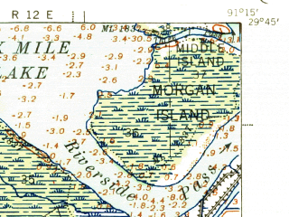 Reduced fragment of topographic map en--usgs--063k--051134--(1941)--N029-45_W091-30--N029-30_W091-15 in area of Wax Lake; towns and cities Bayou Vista, Patterson