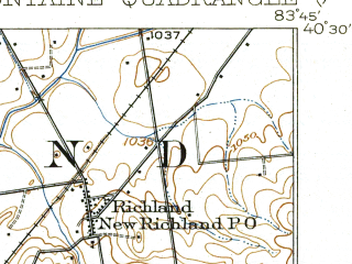 Reduced fragment of topographic map en--usgs--063k--051139--(1915)--N040-30_W084-00--N040-15_W083-45; towns and cities Bellefontaine, De Graff, Huntsville, Lakeview
