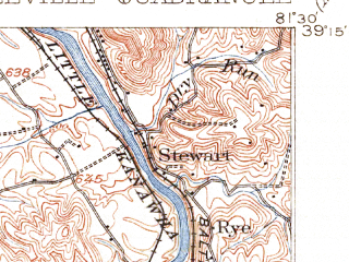 Reduced fragment of topographic map en--usgs--063k--051142--(1906)--N039-15_W081-45--N039-00_W081-30; towns and cities Lubeck, Mineralwells, Washington