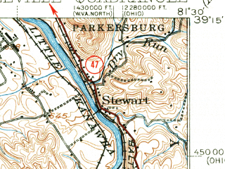 Reduced fragment of topographic map en--usgs--063k--051142--(1924)--N039-15_W081-45--N039-00_W081-30; towns and cities Washington, Lubeck, Mineralwells