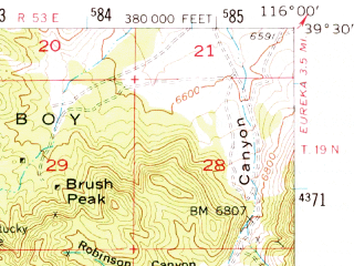 Reduced fragment of topographic map en--usgs--063k--051147--(1956)--N039-30_W116-15--N039-15_W116-00