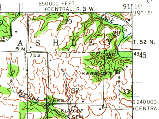 Reduced fragment of topographic map en--usgs--063k--051148--(1942)--N039-15_W091-30--N039-00_W091-15; towns and cities Middletown, Bellflower