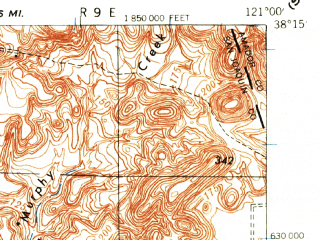 Reduced fragment of topographic map en--usgs--063k--051149--(1939)--N038-15_W121-15--N038-00_W121-00; towns and cities Linden, Lockeford, Morada