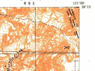 Reduced fragment of topographic map en--usgs--063k--051149--(1942)--N038-15_W121-15--N038-00_W121-00; towns and cities Linden, Lockeford, Morada