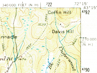 Reduced fragment of topographic map en--usgs--063k--051151--(1957)--N043-15_W072-30--N043-00_W072-15; towns and cities Bellows Falls, Charlestown, North Westminster